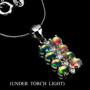 Unheated Oval Fire Opal 4x3mm Cz White Gold Plate 925 Sterling Silver Necklace