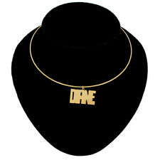 Diane Name Jewelry Choker Gold Tone Bangle Wire Necklace Vintage Jewelry