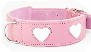Pink Leather Dog Collar White Heart Staffy Staffordshire Bull Terrier Dog Collar