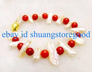 Fashion 8mm South Sea Red Coral & White Baroque Biwa Pearl Bracelet 7.5'' AAA++