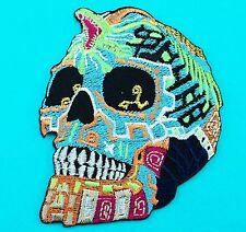 Colorful Skull Skeleton Bone Snake Head Biker Embroidered Iron On Patch Fancy