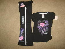 NEW Capezio Black Dance Outfit, T & sweats- Child md -pink, silver, lav- w/ tags