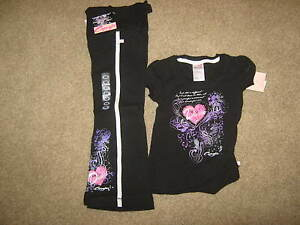 NEW Capezio Black Dance Outfit, T & sweats- Child X-Small w/ tags - Really FUN!