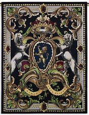 """FRENCH ROYAL CREST TAPESTRY * Crown Dogs Jeweled Medallions  53"""" Wall Hanging"""