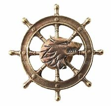 Russian Navy Military Brass Badge - Sea Wolf - The Wheel Naval Fleet