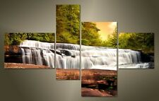 "LARGE WATERFALL FOREST CANVAS WALL PICTURE SPLIT 4 PANELS FLASH ART 43"" 28"" 2317"