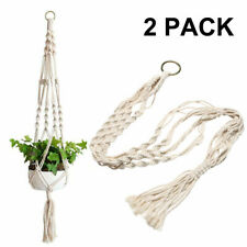 2 Pack Garden Plant Hanger Macrame Hanging Planter Basket Rope Pot Holder Decor