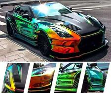 Glossy Laser Chrome Holographic Rainbow Vinyl Car Auto Wrap Film Foil Green Gold