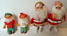 "Vintage 7"" Santas &  4.75"" Elves Japan Set of 4 Figures Good Condition For Age"