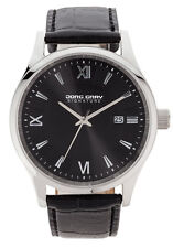 Jorg Gray Mens JS2020 Black Dial Black Leather Band Stainless Steel Watch