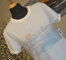JUICY COUTURE NEW Summer T Shirt Top Bleached Bone with graphics Sz Small