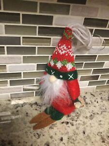Adorable Felt Skiing Gnome Ski Christmas Ornament With Wood Skis FREE SHIPPING