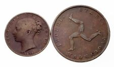 Lot of 2 1839 Isle of Man Coins in VF Condition (Farthing and 1/2 Penny)