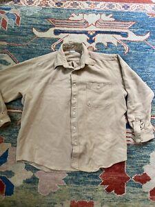 Armani Emporio Mens Long Sleeve Button Down Shirt Sz L Tan