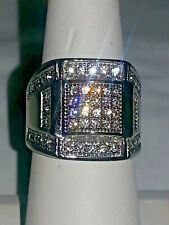 Men'S Ring . Size 8 Silver Stainless Steel Cubic Zirconia