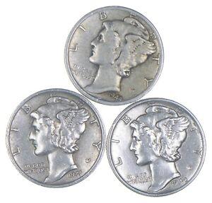 Lot of 3 AU/Unc 1944-S, 1941-S, 1942 Mercury Dimes 90% Silver Collection *388