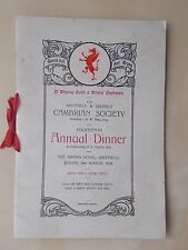 VINTAGE 1928 SHEFFIELD & DISTRICT CAMBRIAN SOCIETY ANNUAL DINNER MENU