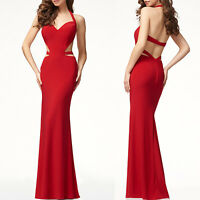 Womens Halterneck Backless Bandage Bodycon Maxi Dress Formal Evening Party Prom