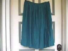 med womens lined silk skirt teal Silk Studio by Claude Bennett side seam closure