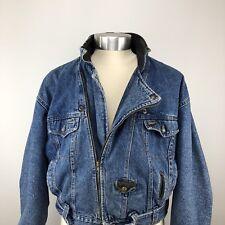 Vintage Men's Diesel Industry Denim Motorcycle Biker Jacket XL Very Rare