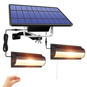 Solar Pendant Double Lamp Light for Indoor Outdoor Garden Lights LED Hanging NEW