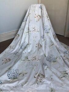 "Christy Hydrangea Cotton Sateen Lined Tape Curtains Ivory Teal Eau De Nil 66x72"""