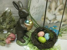 EASTER FAUX CHOCOLATE Bunny Rabbit & NATURAL Bird NEST / EGGS Home Decor TABLE