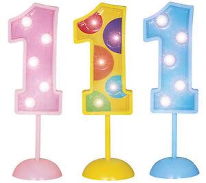 1. Geburtstag Tischdeko LED Geburtstagszahl blinkend in drei Stufen Gr.11,4cm