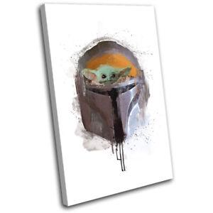 Mandalorian Abstract Baby Yoda Paint TV SINGLE CANVAS WALL ART Picture Print