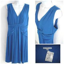 New Boston Proper Dress Slinky Stretch Drape V Neck Royal Blue Size M $129 NWT