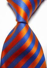 New Classic Stripes Orange Blue JACQUARD WOVEN 100% Silk Men's Tie Necktie