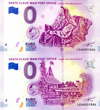 """FINLANDE Les 2 Santa Clau's, Fautés, """"Artic"""", Même N°, 2018, Billet 0 € Souvenir"""