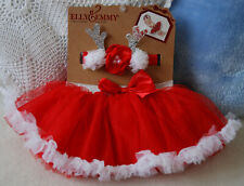 Elly & Emmy Red Reindeer 2 PCS Tutu & Headband Christmas Baby Girl Outfit 0-3mth