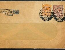 GB Cover IRELAND LATE MAIL Belfast *Late Fee Paid* 1932 KGV Window Envelope L73c
