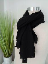 BNWT Hugo Boss Canno Black 100% Wool Woven Scarf