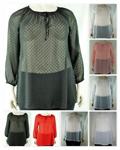 Womens Plain Sheer Chiffon Gypsy Style Full Sleeve Top, Plus Size 14-32