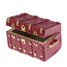 Treasure Chest Vintage Leather Case Box Wooden Miniature Doll House Accessory r#