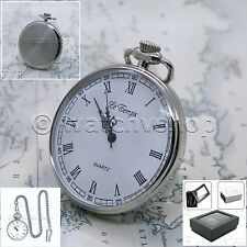 Silver Antique Style Mens Fashion Steampunk Pocket Watch Fob Chain Gift Box P165