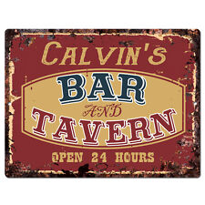 PPBT0155 CALVIN'S BAR and TAVERN Rustic Tin Chic Sign Home Store Decor Gift