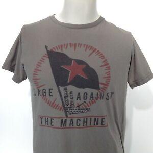 RAGE AGAINST THE MACHINE Short Sleeve Gray T-Shirt Star Flag Graphic MEDIUM Band