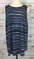 9413172d98e Ava Viv Striped Tank Top Women's Plus 2X Blue Sleeveless Stretch Rayon Blend