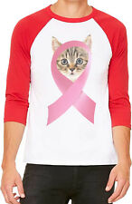 Unisex Pink Breast Cancer Ribbon Cat B1064 White/Red C5 Baseball T Shirt Support