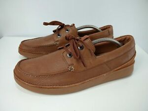 MENS CLARKS ACTIVE AIR UK 9G EU 43 US 10M BROWN LEATHER LACE UP CASUAL SHOES