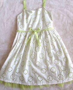 Girls Gap Kids Tulle Trim Eyelet Sleeveless Dress / Green White - Size L (10)