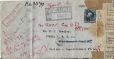 1917 WWI Registered Mail Cover from York, PA to British Expeditionary Force