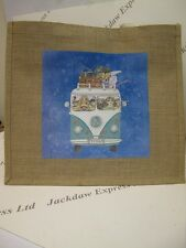 1 x Large Jute Hessian Bag with VW Camper Van Holiday Design L35xW39xD17cm AM289