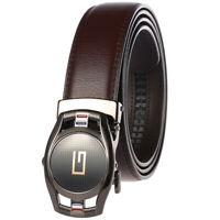 Trend Men's Cow Leather Belt Automatic Buckle Belt Black Brown Gife Waist Strap