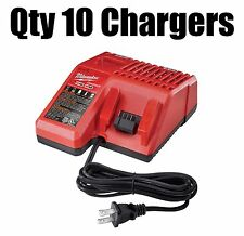 (LOT OF 10) Milwaukee 48-59-1812 Battery Charger M18 & M12 Lithium Ion 18V 12V