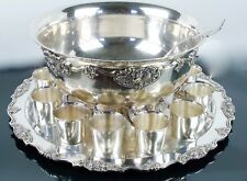 """Wallace Silver-plate """"Harvest"""" 15 Piece Punch Bowl Set (Bowl, Tray, Ladle, Cups)"""