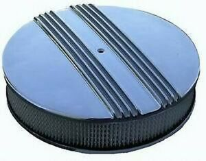14 in Polished Aluminum Round Air Cleaner Nostalgic Chevy Ford Flat Base